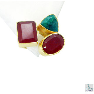 Multi Stone Gold Pleted Ring delightful Multicolor suppiler Indian gift