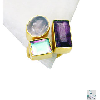 Multi Stone Gold Pleted Ring elegant Multicolor supply Indian gift