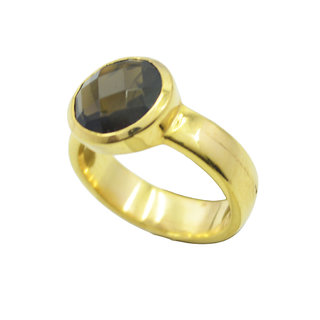 Smoky Quartz Gold Pleted Ring pretty Brown handcrafted Indian gift