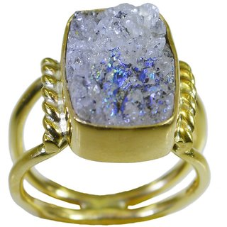 Druzy Gold Pleted Ring drop-dead Multicolor handmade  Indian gift