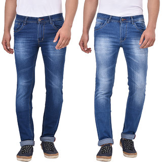 Stylox Men's Blue Slim Fit Jeans (Pack of 2)