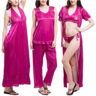 1a1274f65d Buy Bombshell Womens Satin Nightwear Set of 6 Pcs Nighty
