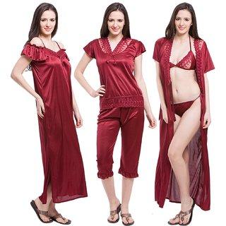 22b1952402 Bombshell Womens Satin Nightwear Set of 6 Pcs Nighty, Wrap Gown, Top, Capri