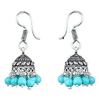 Stylish Party Wear Silver Plated Traditional Jhumki Earrings jewellery