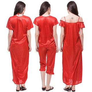 Buy Bombshell Womens Satin Nightwear Set of 6 Pcs Nighty e1b4e4fd6