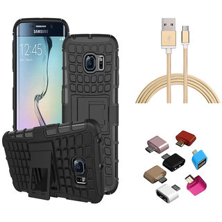Tough Armor Defender Kick Stand Cover with Golden Nylon USB Cable and OTG Adaptor for Samsung Galaxy J7 Prime