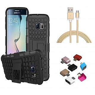 Tough Armor Defender Kick Stand Cover with Golden Nylon USB Cable and OTG Adaptor for Samsung Galaxy On7