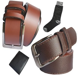 Sunshopping men's brown synthetic leather needle pin point buckle belts combo with black socks and black wallet