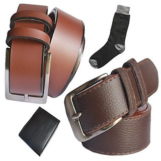 Sunshopping men's brown synthetic leather needle pin point buckle belts combo with black socks and black wallet (Synthetic leather/Rexine)
