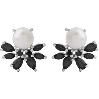 Allure Pearl  Black Spinel Studded Silver Earrings