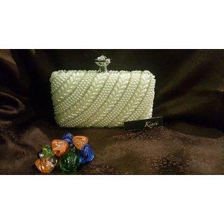 Kiari Creations Women's Clutches Pearl White