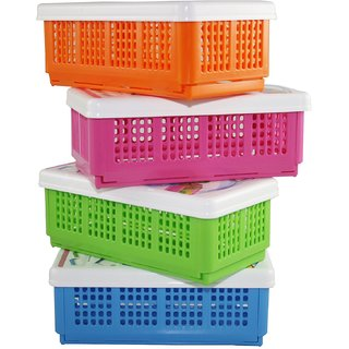 Evershine Flexi Fold Polypropylene Multi Colour Food Container Set of 4
