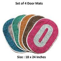 Set Of 4 Polyster Large Door/Bath Mat 18x24 K Decor Multicolor