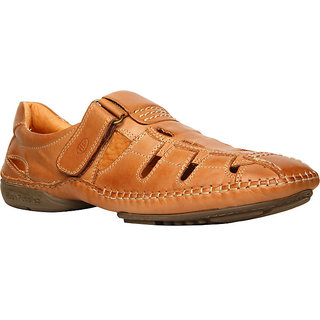 HUSH PUPPIES -Men Tan Leather Sandal