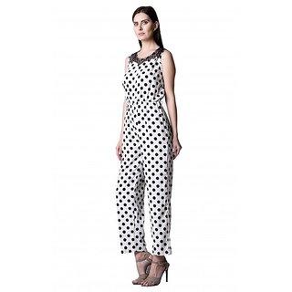Westrobe Women White Polka Dot Crepe Jumpsuits