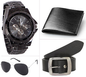Jack Klein Combo of Black Belt And PU Bi-fold Wallets With Glasses  Wrist Watch