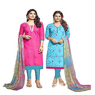 2cbdeade02 Buy Chanderi Cotton Two Top Jacard Chiffon Print Salwar Kameez A0014 ...
