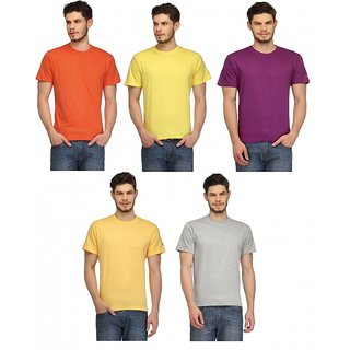 aff7615dbc8 Buy Rico Sordi Pack of 5 Men s Multicolor Round Neck T-Shirt Online ...