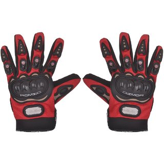 RMA-6007 Romic Leather Motorcycle Full Gloves (Red, Large)
