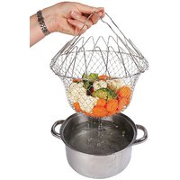 Kanha 12 in 1 Kitchen Tool Solid Steel Dishwasher Safe Folds Flat for Easy Storage Deep Fry Steaming Colander,Straining