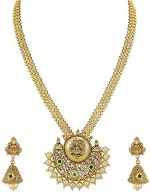 Non-Precious Metal Pendant Necklace With Jhumki Earring For Women