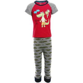 90ec21029b23 Buy Lazy Shark Boys Cotton Printed Nightwear Top Bottom Set Online ...