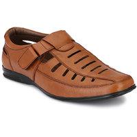 Afrojack Men Tan Velcro Sandals