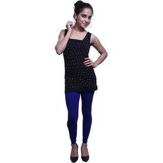AROSE Blue Cotton Lycra Plain Women  Ankle Legging