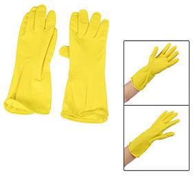 1Pair Yellow Nonslip Kitchen Dishwashing Cleaning Washing Latex Gloves