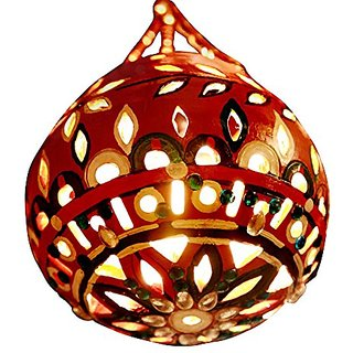Earthen hand cut and hand decorated globe lamp