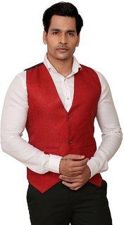 Trustedsnap Men's Solid Red Waist Coat