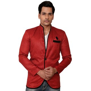 Trustedsnap Solid Party Wear Red Blazer