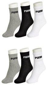 Puma Cotton White Black Grey Sports Socks - Pack Of 6