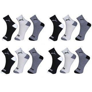 Puma Multicolour Cotton Ankle Length Socks - Pack of 12