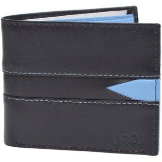 Knott Black/Blue Fashionable Leather Wallet for Men