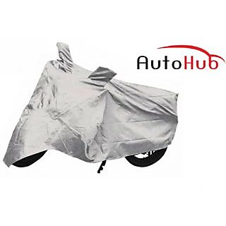 Flying On Wheels Two Wheeler Cover With Mirror Pocket UV Resistant For Hero Splendor Plus - Black & Silver Colour