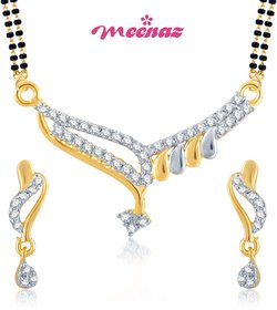Meenaz GoldenSilver Alloy Gold Plated Mangalsutra With Earrings For Women