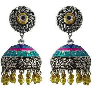 Striking Meenakari silver plated pearl tokri jhumki earring set-418