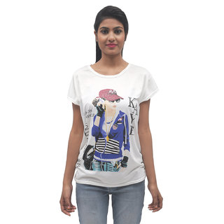Stylezing White Hollywood Print T Shirt with Sparkles