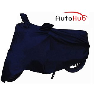Flying On Wheels Two Wheeler Cover With Mirror Pocket With Sunlight Protection For Bajaj Discover 150F - Blue Colour