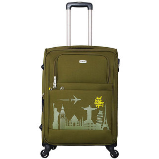 Timus Salsa Military Green Check In 65 Cm 4 Wheel Strolley Suitcase For Travel
