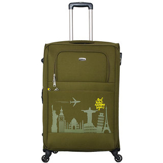 Timus Salsa Military Green Check In 75 Cm 4 Wheel Strolley Suitcase For Travel