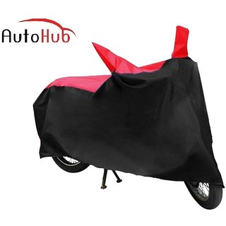 Flying On Wheels Two Wheeler Cover With Mirror Pocket With Sunlight Protection For Suzuki Hayate - Black & Red Colour