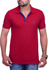 La Milano Maroon Polo Neck Half Sleeve T-Shirt for Men