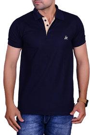 La Milano Navy Polo Neck Half Sleeve T-Shirt for Men