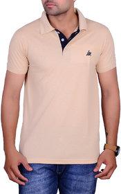 La Milano Cream Polo Neck Half Sleeve T-Shirt for Men