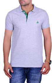 La Milano Gray Polo Neck Half Sleeve T-Shirt for Men
