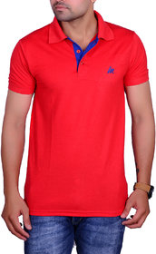 La Milano Red Polo Neck Half Sleeve T-Shirt for Men