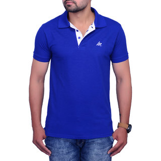 La Milano Blue Polo Neck Half Sleeve T-Shirt for Men