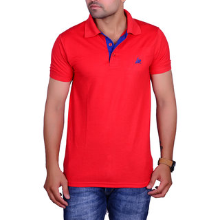 La Milano Red Polo Neck Half Sleeve T-Shirt for Men